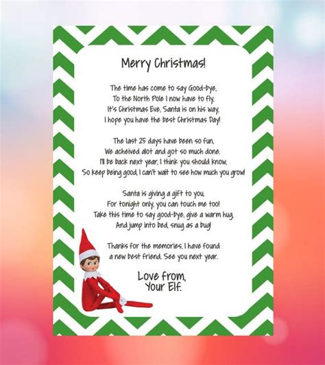 free printable elf on the shelf goodbye poem 25 best ideas about elf goodbye letter on pinterest elf