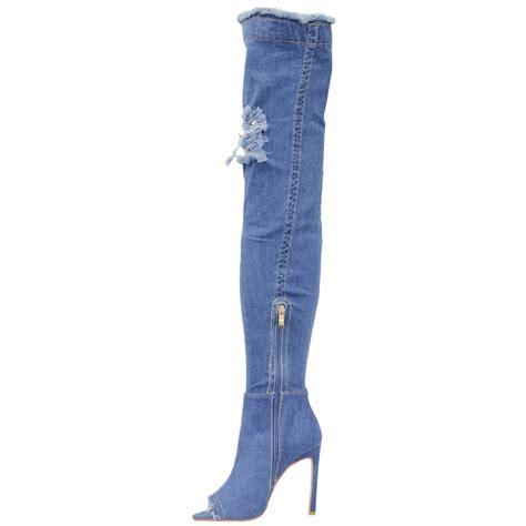 the knee denim boots womens ripped peeptoe