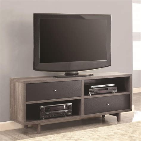 Distressed Black Tv Stand by Coaster 60 Quot Tv Stand In Distressed Gray And Black 700795