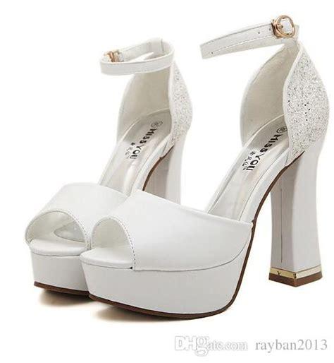 2015 luxury ivory white glitter wedding shoes sandals