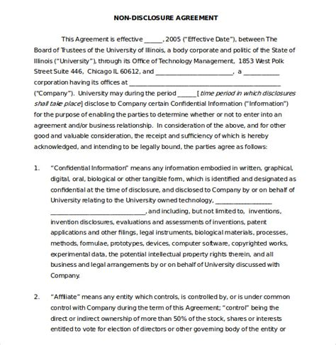 patent non disclosure agreement template 19 word non disclosure agreement templates free