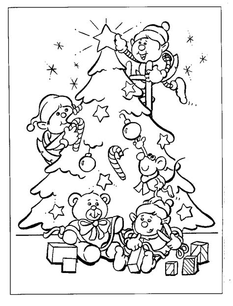 free coloring pages of santa christmas tree