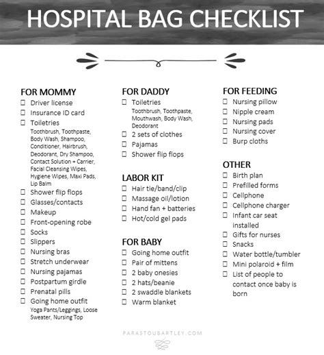 hospital checklist for c section delivery my hospital bag checklist parastou bartley
