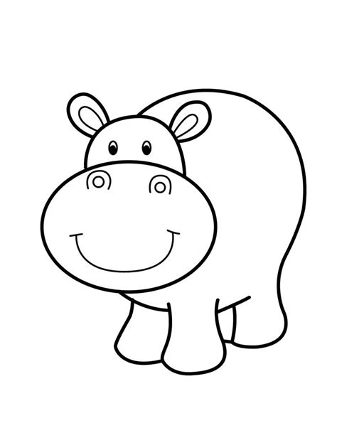 cute hippo coloring page hippo smiling cartoon animals coloring pages for kids