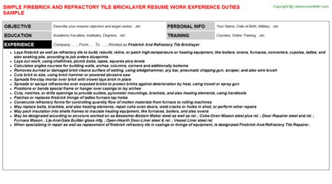 firebrick and refractory tile bricklayer resume sle