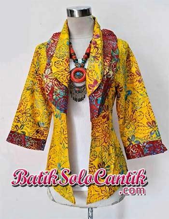 Kemeja Katun Wanita Batik Ruffles Unik Lengan Panjang Bpa24 cardigan batik modern lengan panjang baju kerja batik