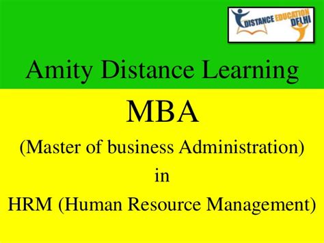 Mba In Management by Amity Distance Learning Mba In Hrm Human Resource
