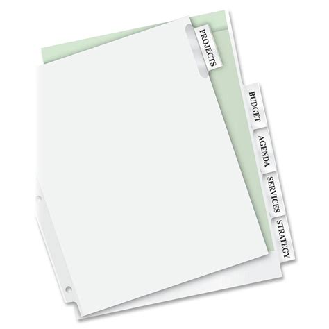 Avery Worksaver Extra Wide Big Tab Divider Ld Products Avery Worksaver Big Tab Insertable Dividers Template