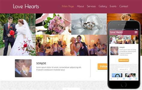 wedding planner website template hearts a wedding planner flat bootstrap responsive