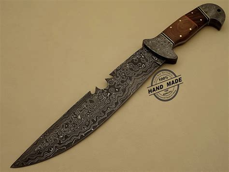 damascus bowie knife custom handmade damascus steel