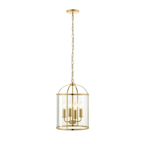 Brass Ceiling Lights Uk Endon Lighting Lambeth 4 Light Ceiling Pendant In Polished Brass Finish With Clear Glass Panels
