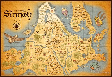 Map Of The World Stickers For Walls quot sinnoh map quot posters by meleeninja redbubble