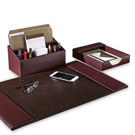 Desk Organization Sets Bomber Jacket Desk Set Three Pieces Leather Desk Accessories Desk Organizers Levenger