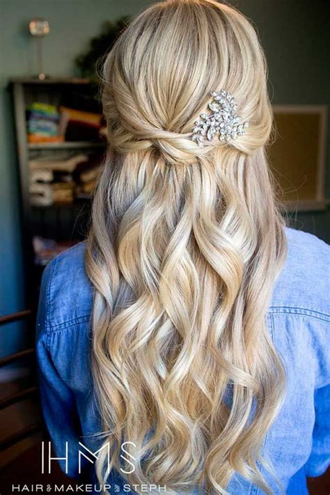 30 chic half up half bridesmaid hairstyles special occasion bridesmaid