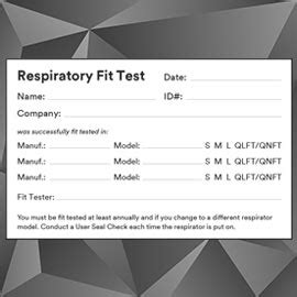 respirator fit test card template fit testing respiratory protection safety expertise