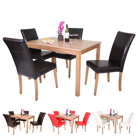 high chair dining set oakden oak veneer dining table and 4 x faux leather high back chair set wood ebay