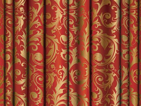 red and gold curtain fabric gold fabric pattern vector free vector 4vector