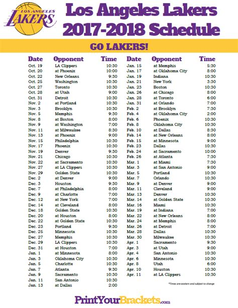 printable los angeles lakers schedule 2017 2018