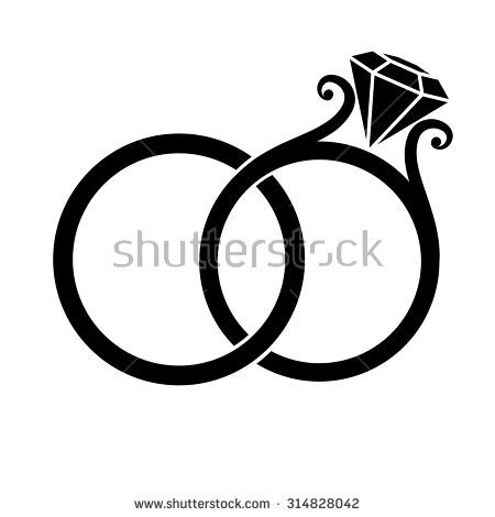 wedding rings black silhouette on stock vector