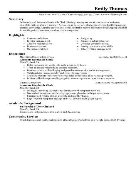 click here to download this accounts receivable resume template