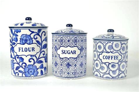 blue and white canisters kitchen best ceramic coffee
