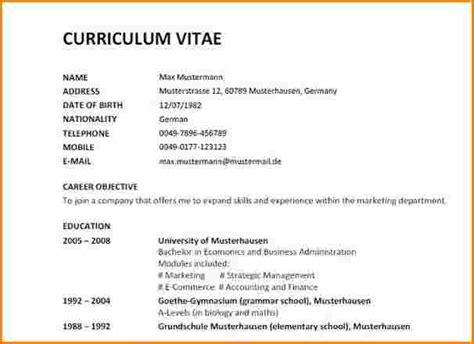 Cv Englisch Vorlage Word 5 Curriculum Vitae Vorlage Reimbursement Format