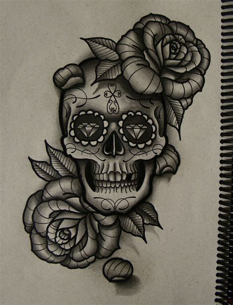 skeleton and rose tattoo sugar skull and drawing at getdrawings free for