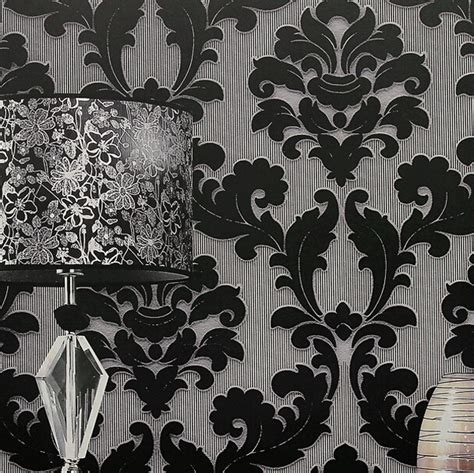 black damask wallpaper home decor papel de parede classic wall paper home decor background