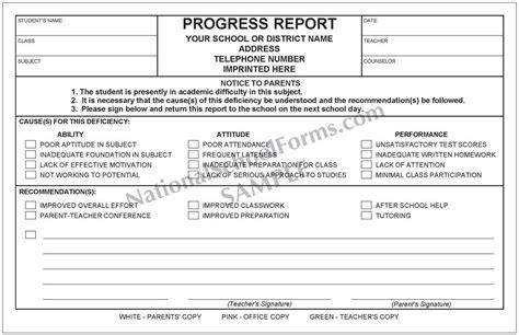 construction deficiency report template progress report with parent signature line