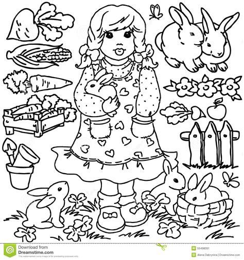 Fille De Ferme De Livre De Coloriage De Bande Dessin 233 E Et Spring Coloring Pages For Kids L