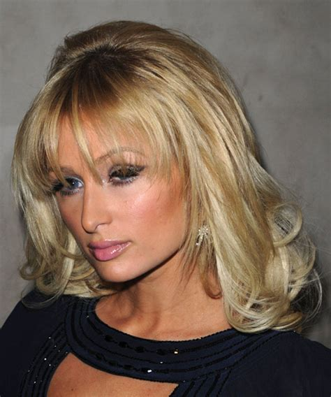 Hair Styles In Paris | paris hilton long wavy formal hairstyle with layered bangs