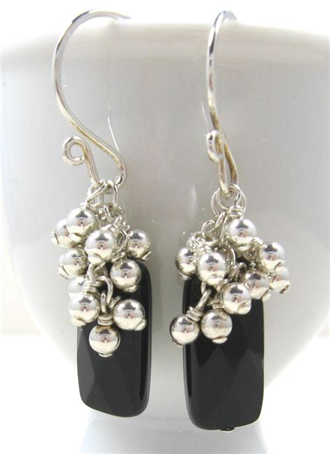 Handcrafted Sterling Silver Earrings - gracie jewellery handmade sterling silver black onyx