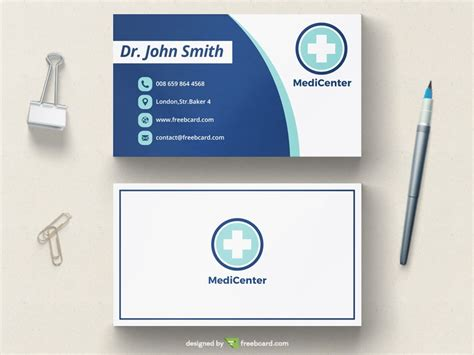 doctor business card template free clean modern business card template freebcard