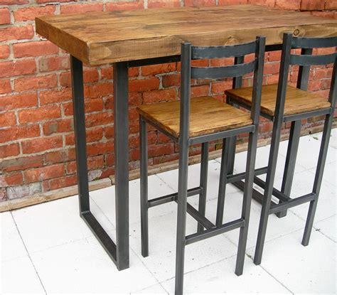 Kitchen Bar Table And Stools Breakfast Bar Table Bar Stools Rustic Industrial Bar Table