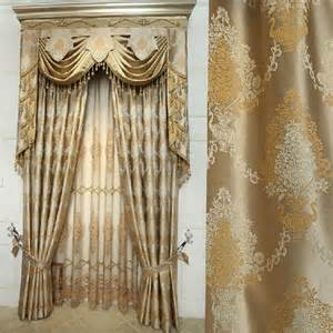 Gold Coloured Curtains Jacquard Craft Faux Silk Gold Color Of Thick Blackout Curtain