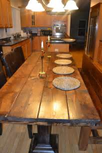 Handmade Kitchen Tables Handmade Rustic Wood Dining Table Set By Rustikink On Etsy