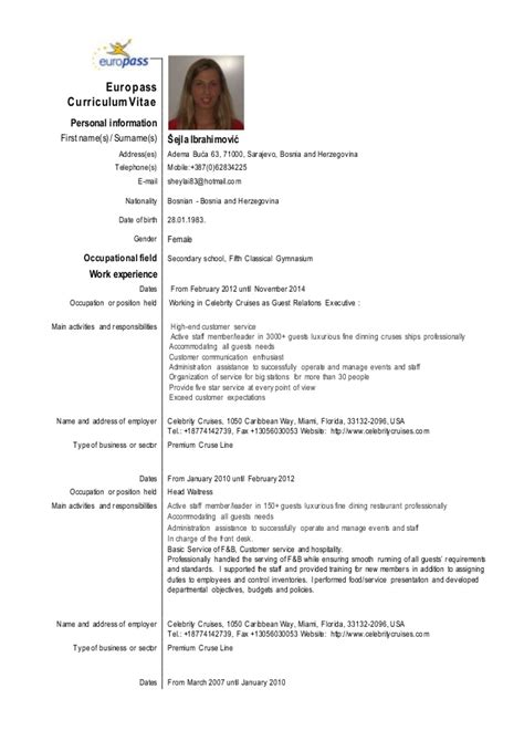 Sle Resume European Format Cv Sejla Ibrahimovic Eu Format
