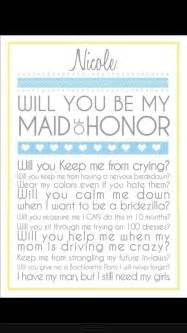 Maid Of Honor Asking Ideas Pin By Mary Jo On Wedding Pinterest