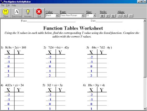 Function Table Worksheet by Mechhin Math Worksheets New Calendar Template Site