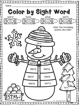 snowman reading coloring page snowman color by sight word by tara hardink teachers