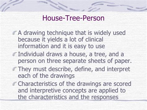 House Tree Person Drawing Interpretation by Projective Techniques And Other Personality Measures