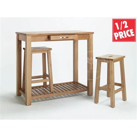 Breakfast Bar Table And Stools Oak Breakfast Bar Nesting Stools