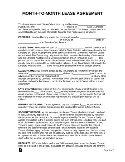 Month-to-Month Lease Agreement Templates | eForms – Free Fillable Forms