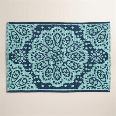 world market bath rugs aqua medallion woven bath mat world market