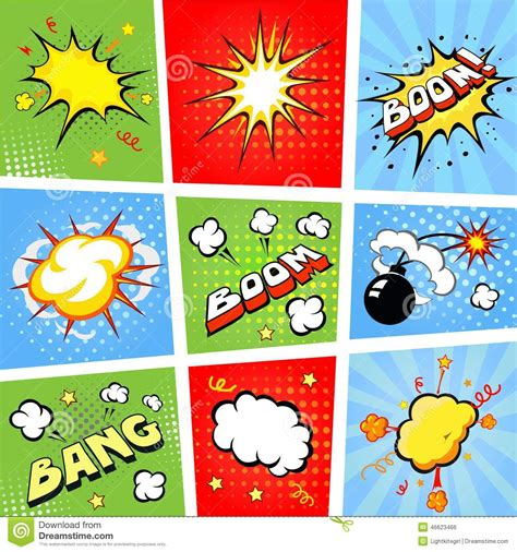 comic speech bubbles and comic strip background stock