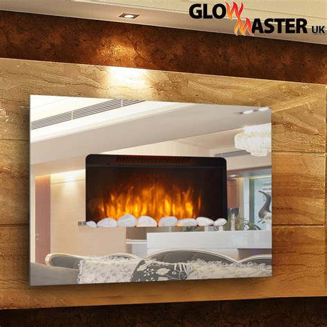 designer large wall mounted electric flicker flame mirror