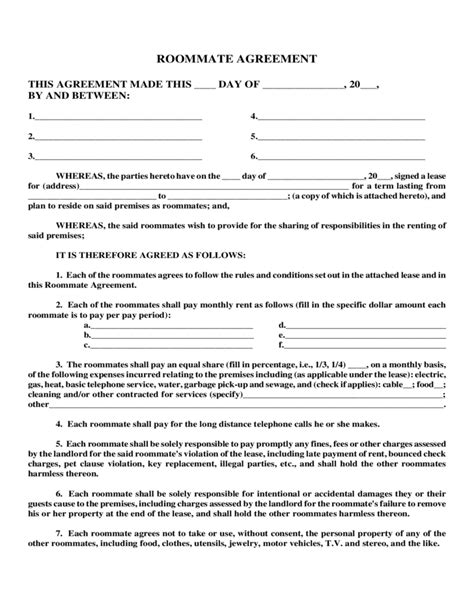 Letter Of Roommate Agreement Sle Roommate Agreement Free