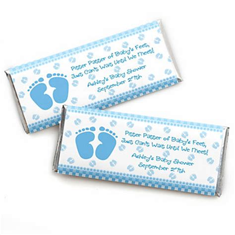 baby feet blue personalized baby shower candy bar