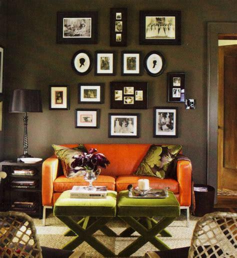 Burnt Orange Sofa Living Room Living Room W Burnt Orange Sofa Colored Walls And An Gallery Green