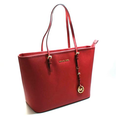 Michael Kors Jet Set Travel Leather Tote Red #30S4GTVT2L